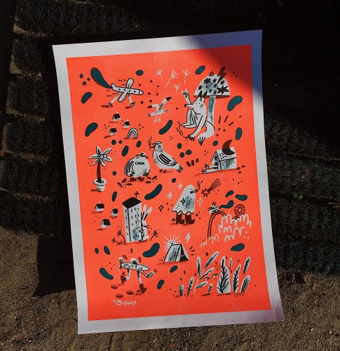 Riso print / Meanwhile in the City